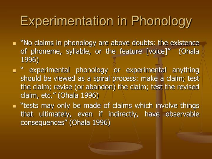 Experimentation in Phonology