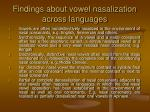 findings about vowel nasalization across languages