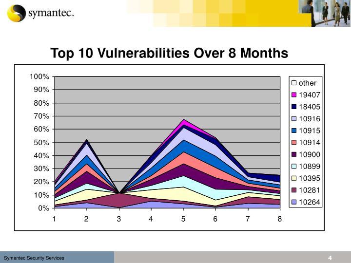 Top 10 Vulnerabilities Over 8 Months