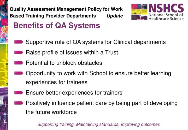 Quality Assessment Management Policy for Work Based Training Provider Departments