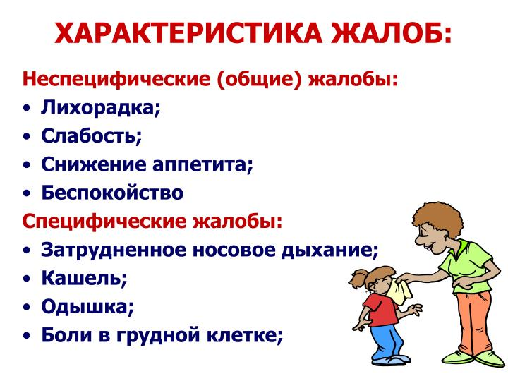 ХАРАКТЕРИСТИКА ЖАЛОБ:
