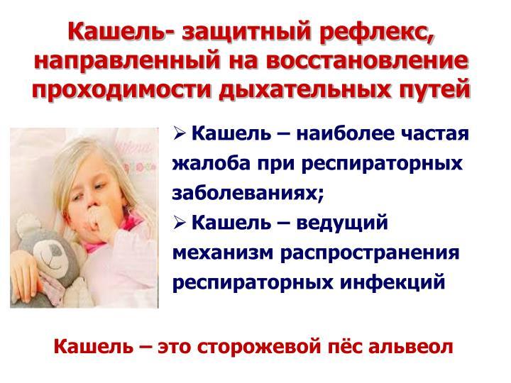 Кашель – наиболее частая жалоба при респираторных заболеваниях;