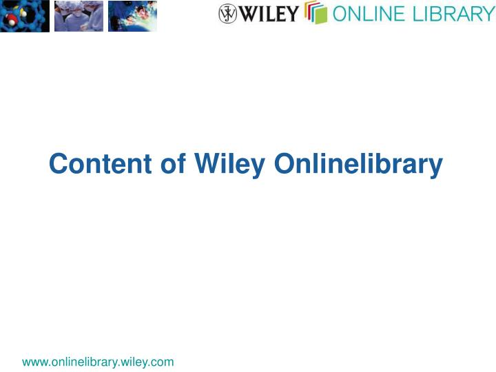 Content of WiIey Onlinelibrary