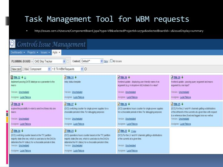 Task Management Tool for WBM requests