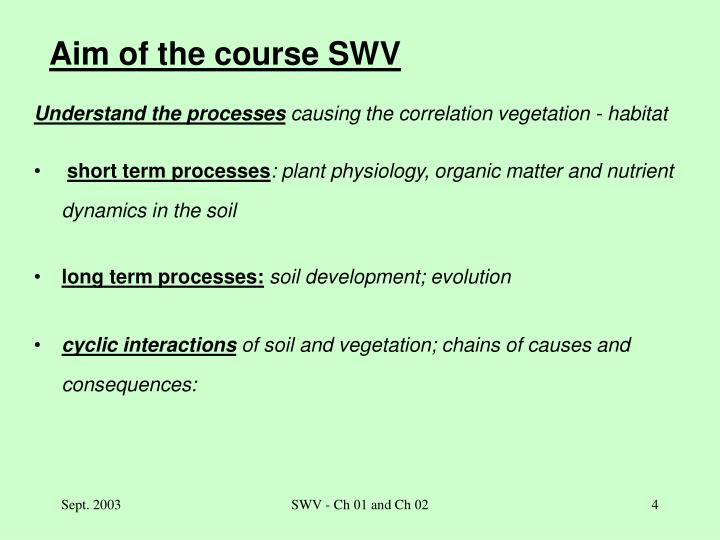 Aim of the course SWV