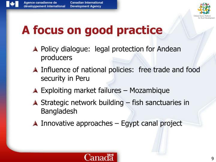 A focus on good practice