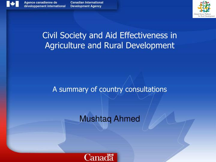 Civil Society and Aid Effectiveness in Agriculture and Rural Development