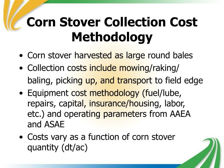 Corn Stover Collection Cost Methodology