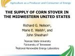 the supply of corn stover in the midwestern united states