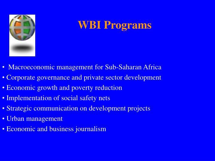 WBI Programs