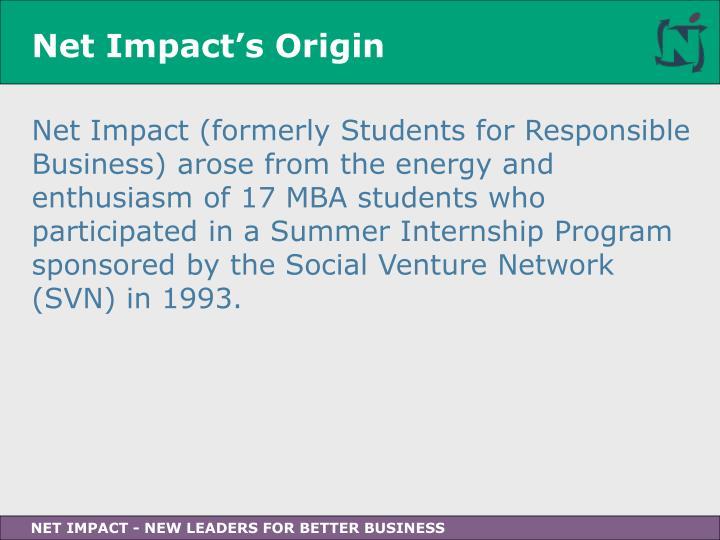 Net Impact's Origin