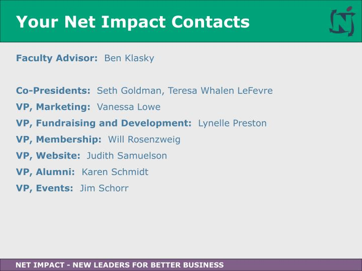 Your Net Impact Contacts