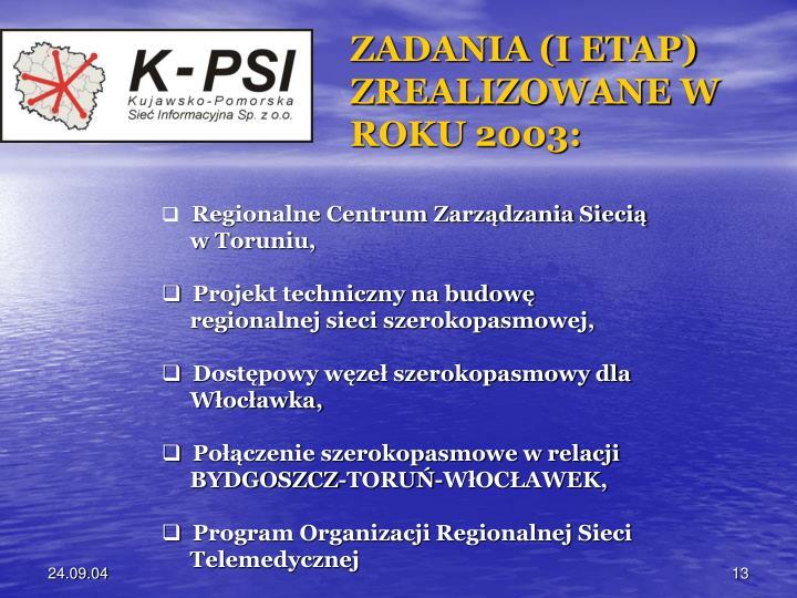 ZADANIA (I ETAP) ZREALIZOWANE W ROKU 2003: