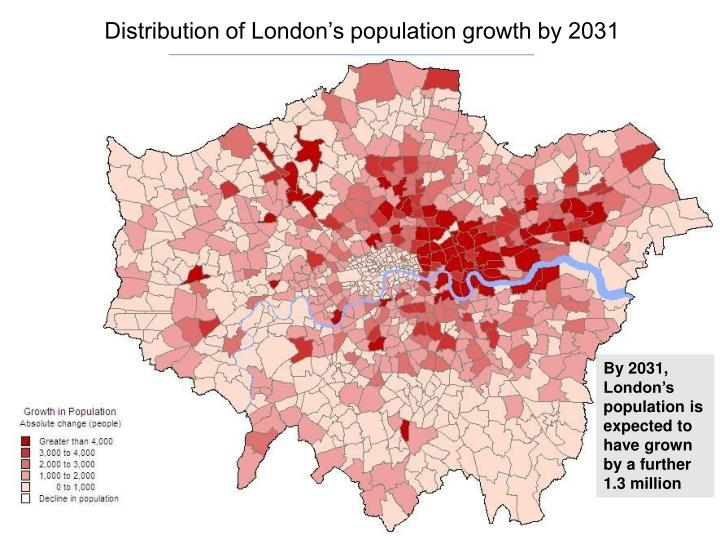Distribution of London's population growth by 2031