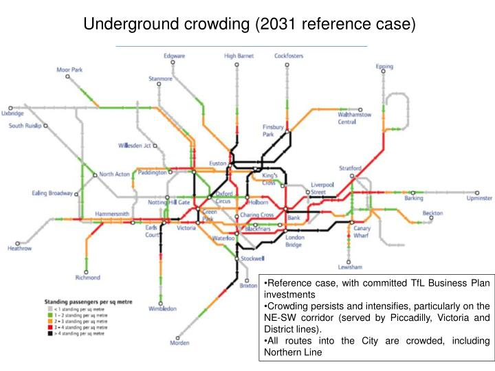 Underground crowding (2031 reference case)