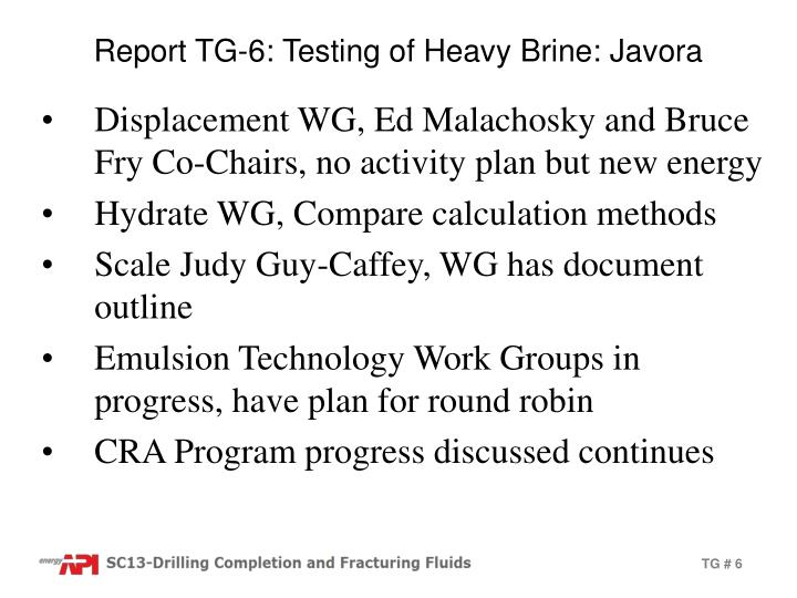 Report TG-6: Testing of Heavy Brine: Javora
