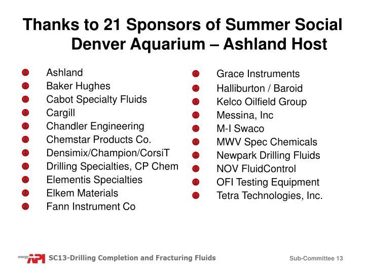 Thanks to 21 Sponsors of Summer Social Denver Aquarium – Ashland Host