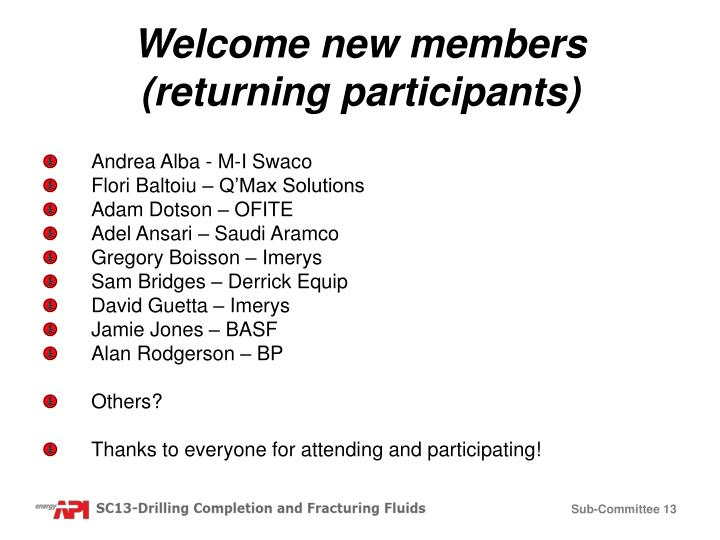 Welcome new members (returning participants)