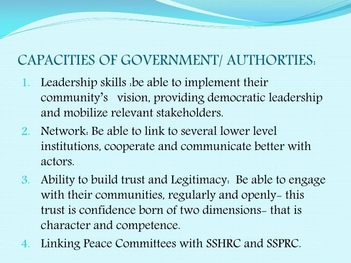 CAPACITIES OF GOVERNMENT/ AUTHORTIES: