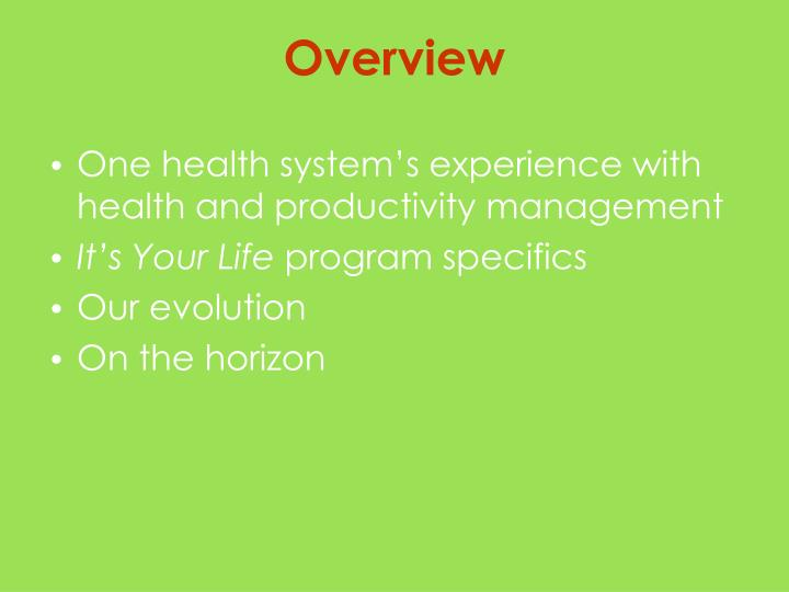 One health system's experience with health and productivity management