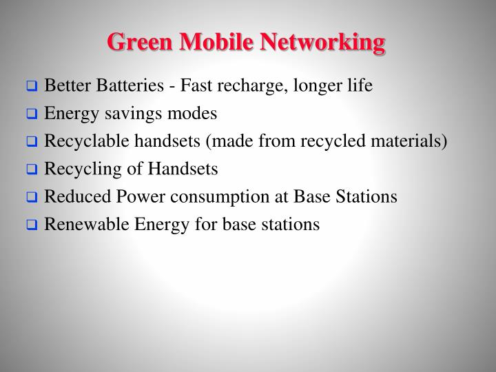 Green Mobile Networking