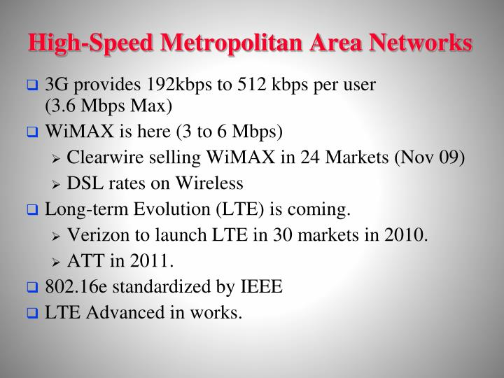 High-Speed Metropolitan Area Networks