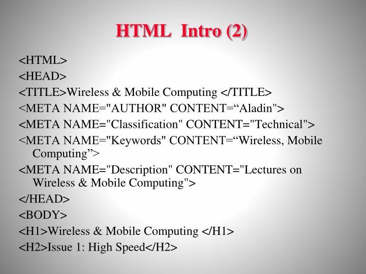 HTML  Intro (2)