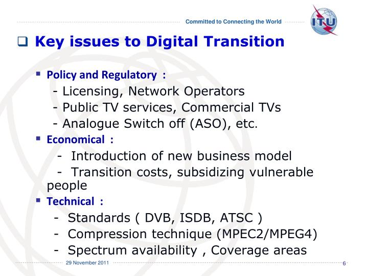 Key issues to Digital Transition