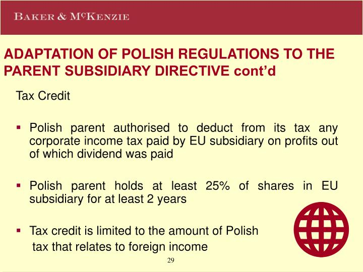 ADAPTATION OF POLISH REGULATIONS TO THE PARENT SUBSIDIARY DIRECTIVE cont'd