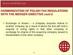 harmoni z ation of polish tax regul a tions with the merger directive cont d
