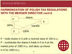 harmoni z ation of polish tax regul a tions with the merger directive cont d1
