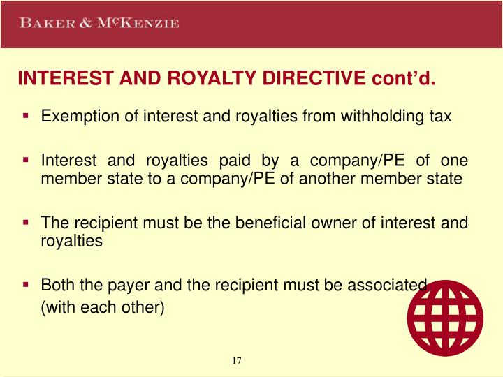 INTEREST AND ROYALTY DIRECTIVE cont