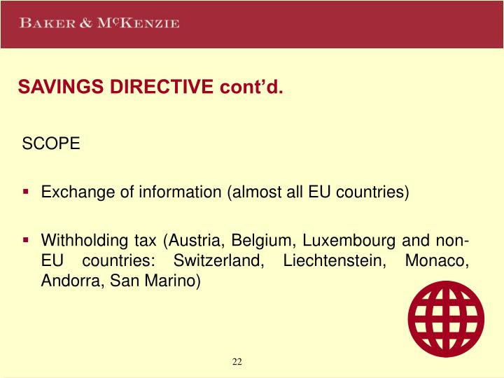 SAVINGS DIRECTIVE cont'd.