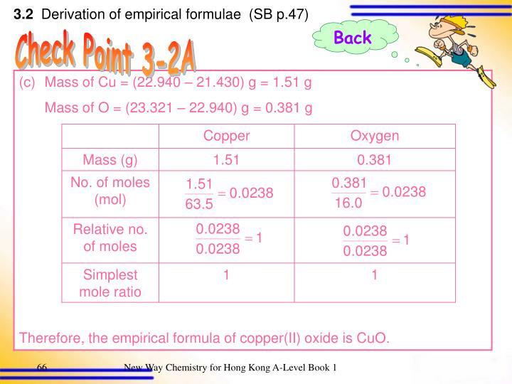 Mass of Cu = (22.940 – 21.430) g = 1.51 g