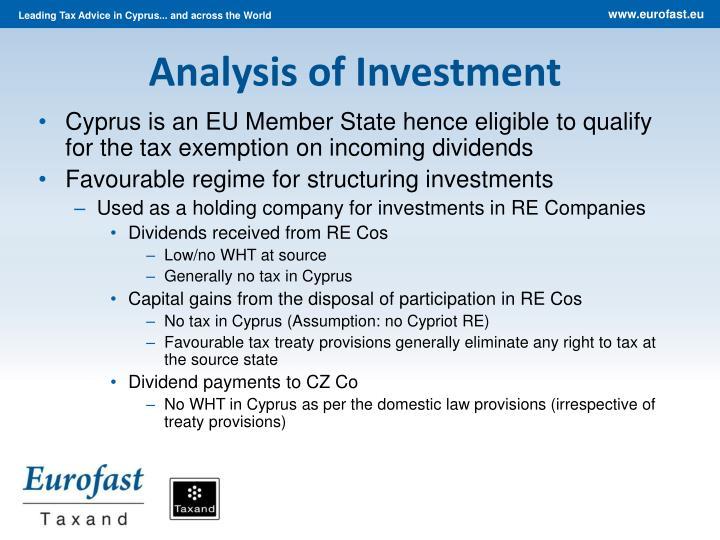 Analysis of Investment