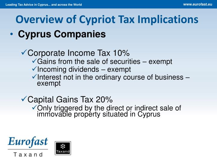 Overview of Cypriot Tax Implications