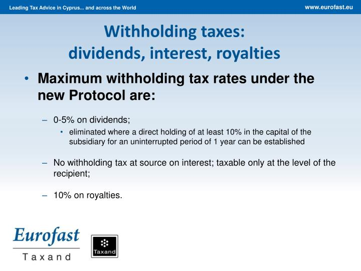 Withholding taxes: