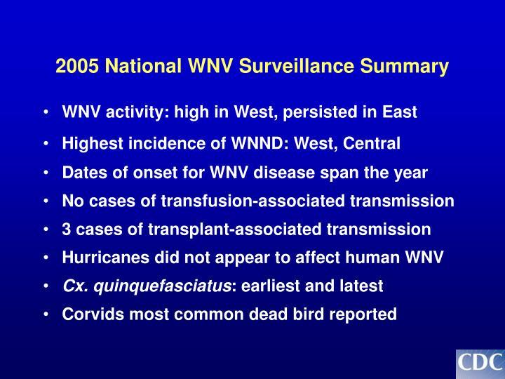 2005 National WNV Surveillance Summary