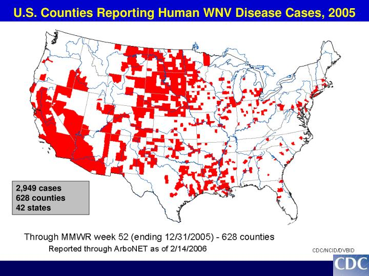 U.S. Counties Reporting Human WNV Disease Cases, 2005