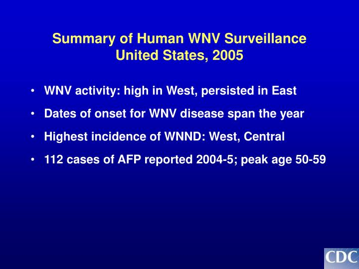 Summary of Human WNV Surveillance United States, 2005