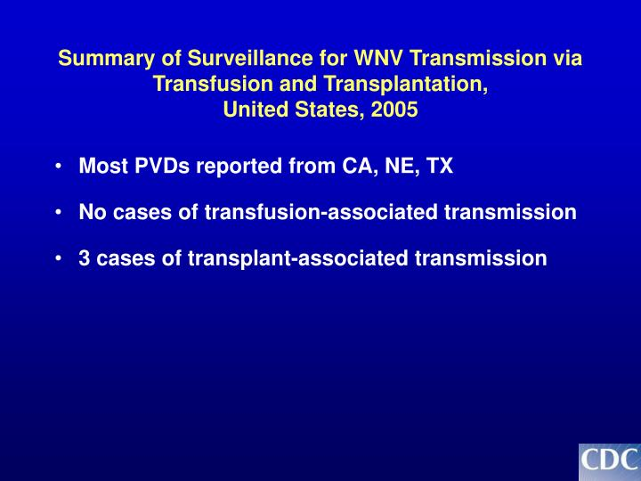 Summary of Surveillance for WNV Transmission via Transfusion and Transplantation,