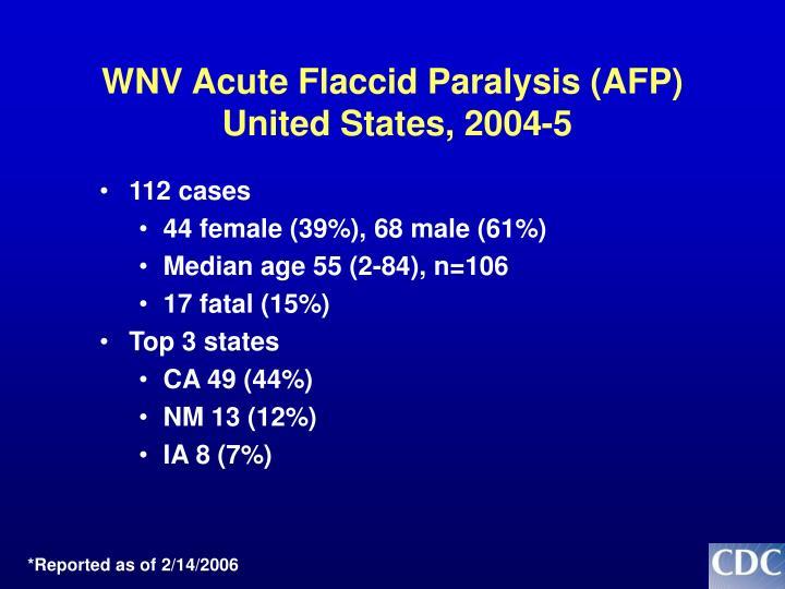 WNV Acute Flaccid Paralysis (AFP)