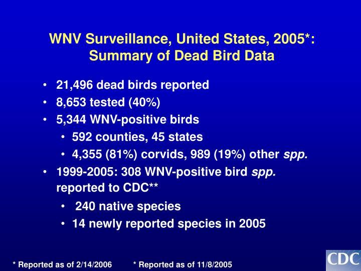 WNV Surveillance, United States, 2005*: