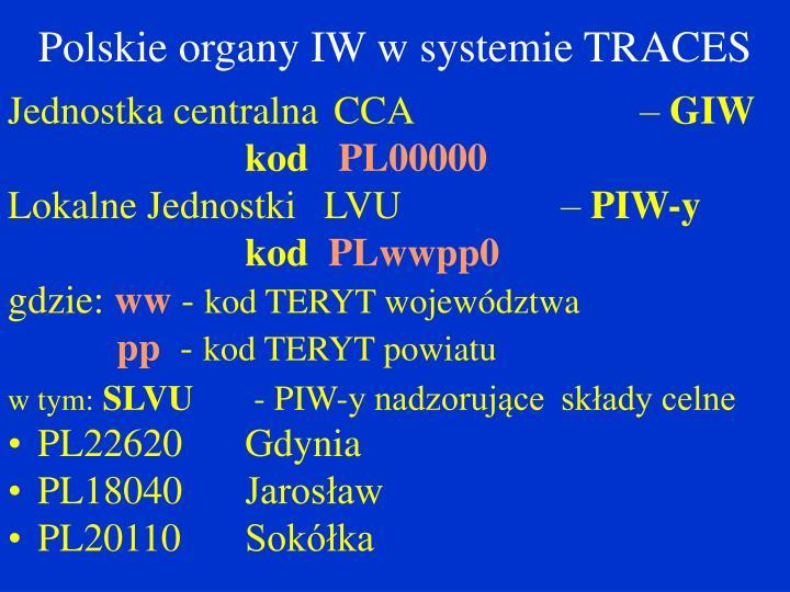 Polskie organy IW w systemie TRACES