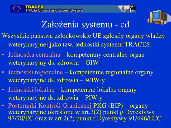 Założenia systemu - cd