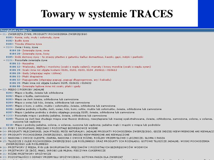Towary w systemie TRACES