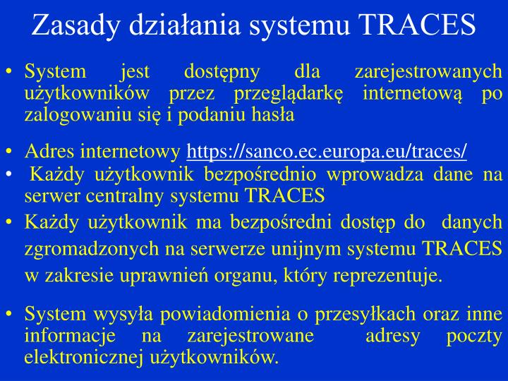 Zasady działania systemu TRACES