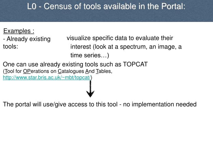 L0 - Census of tools available in the Portal: