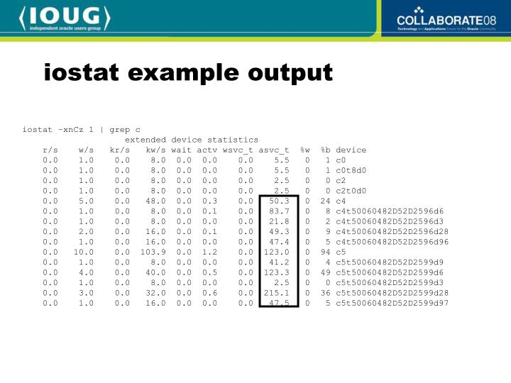 iostat example output