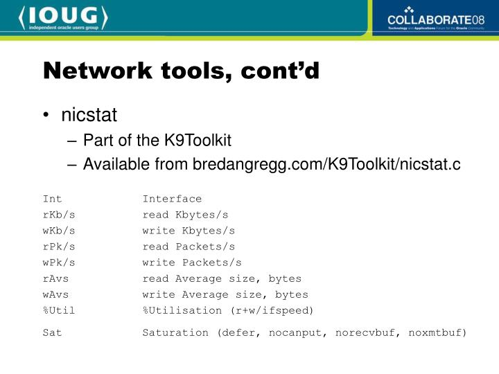 Network tools, cont'd